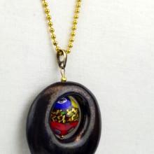 ROMANTYCZNY wisior ceramiczny ze szkłem murano